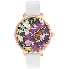Buy Ted Baker TE10031547 Women's Katie Enchantment Floral Date Leather Strap Watch, White/Multi Online at johnlewis.com