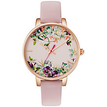 Buy Ted Baker TE10031550 Women's Katie Enchantment Floral Date Leather Strap Watch, Pink/Multi Online at johnlewis.com