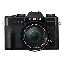 "Buy Fujifilm X-T20 Compact System Camera with XC 16-50mm OIS II Lens , 4K Ultra HD, 24.3MP, Wi-Fi, OLED EVF, 3"" Tiltable LCD Touch Screen Online at johnlewis.com"