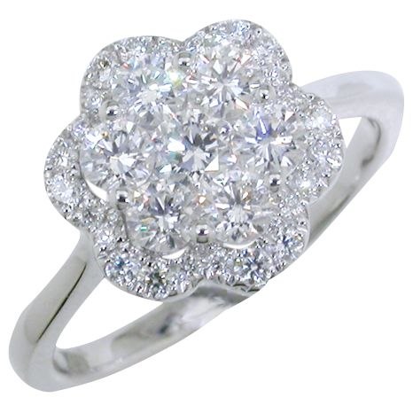 EWA EWA 18ct White Gold Diamond Cluster Flower Ring, 1.01ct