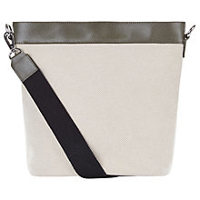 Buy Jaeger Leather / Canvas Bucket Bag, Ivory Online at johnlewis.com