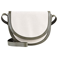 Buy Jaeger Leather / Canvas Across Body Bag, Ivory Online at johnlewis.com