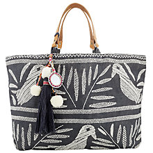 Buy Star Mela Isi Embroidered Tote Bag, Anthracite/Ivory Online at johnlewis.com