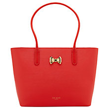 Buy Ted Baker Taleen Curved Bow Leather Shopper Bag, Bright Orange Online at johnlewis.com