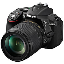 "Buy Nikon D5300 Digital SLR Camera with 18-105mm VR Zoom Lens, HD 1080p, 24.2MP, Wi-Fi, 3.2"" Screen Online at johnlewis.com"