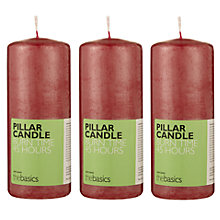 Buy John Lewis The Basics Medium Pillar Candles, Red, Set of 3 Online at johnlewis.com