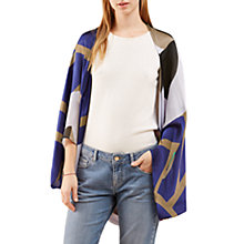 Buy Jigsaw Silk Peony Print Cape, Purple Online at johnlewis.com