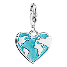 Buy Thomas Sabo Enamel Heart Globe Charm, Silver/Turquoise Online at johnlewis.com