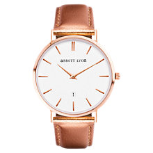 Buy Abbott Lyon Women's Kensington 40 Date Leather Strap Watch, Rose Gold/White Online at johnlewis.com