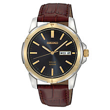 Buy Seiko SNE102P9 Men's Solar Day Date Leather Strap Watch, Maroon/Black Online at johnlewis.com