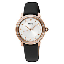 Buy Seiko SRZ484P1 Women's Leather Strap Watch, Black/White Online at johnlewis.com