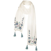 Buy Fat Face Children's Floral Embroidered Scarf, Ecru Online at johnlewis.com