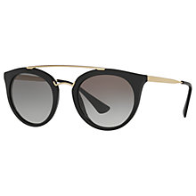 Buy Prada PR 23SS Cinema Oval Sunglasses, Black/Grey Gradient Online at johnlewis.com