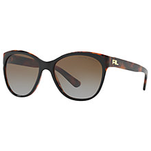 Buy Ralph Lauren RL8156 Polarised Cat's Eye Sunglasses, Tortoise/Brown Gradient Online at johnlewis.com