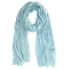 Buy Mint Velvet Bumble Bee Motif Scarf, Aqua Online at johnlewis.com