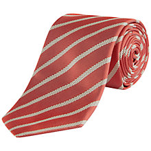 Buy Jaeger Silk Interest Stripe Tie, Coral Online at johnlewis.com