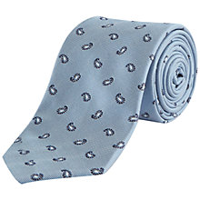 Buy Jaeger Silk Mini Paisley Tie, Sky Blue Online at johnlewis.com