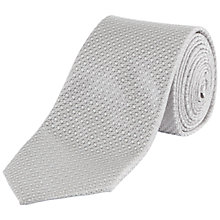 Buy Jaeger Silk Textured Weave Tie, Silver/Grey Online at johnlewis.com