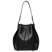Buy Reiss Madison Drawstring Bucket Bag, Black Online at johnlewis.com