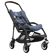 Buy Bugaboo Bee5 Complete Pushchair, Black with Cognac Handles and Blue Melange Fabric Online at johnlewis.com