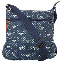 Buy Fat Face Canvas Bee Print Across Body Bag, Navy Online at johnlewis.com