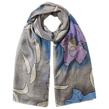 Buy East Watercolour Silk Scarf, Grey Online at johnlewis.com