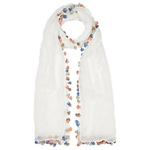 Buy Jigsaw Cotton Multi Pom Pom Scarf, Blue Online at johnlewis.com
