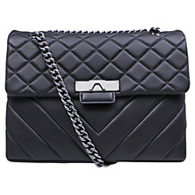 Buy Kurt Geiger Kensington Leather Large Across Body Bag, Black Online at johnlewis.com