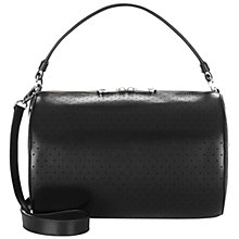 Buy Jaeger Chunky Zip Leather Bowler Bag, Black Online at johnlewis.com