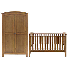 Buy Silver Cross Ashby Wardrobe and Cotbed Set, Warm Light Walnut Online at johnlewis.com