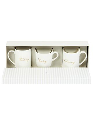 John Lewis & Partners Baby, Mummy & Daddy Ceramic Mugs, Set of 3, White