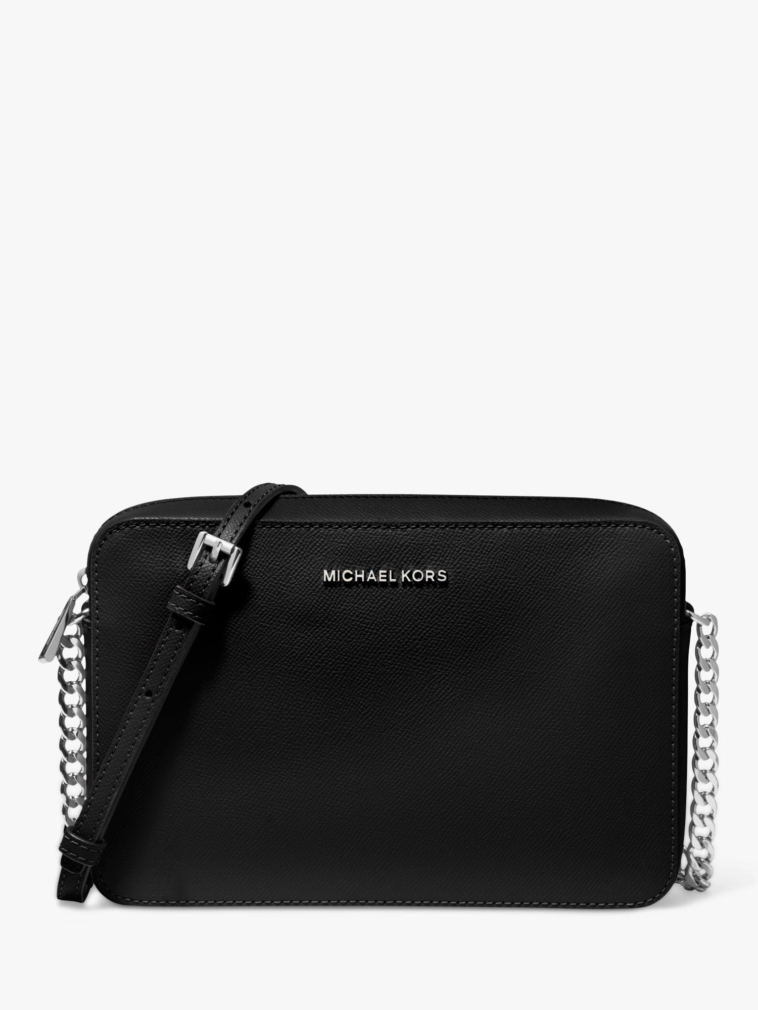 MICHAEL Michael Kors Jet Set Travel Leather East West Cross Body Bag, BlackSilver