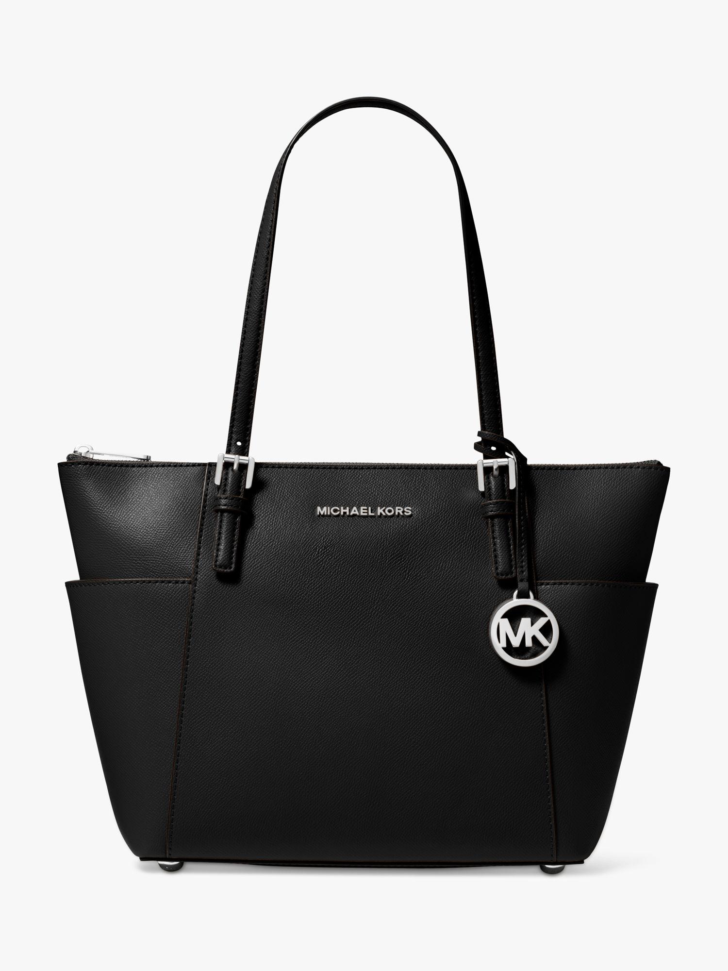 MICHAEL Michael Kors Jet Set EastWest Leather Tote Bag, Black