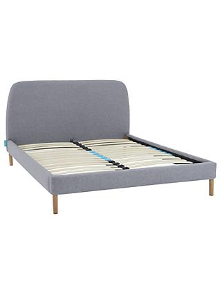 SIMBA Upholstered Bed Frame with Headboard, Double, Grey