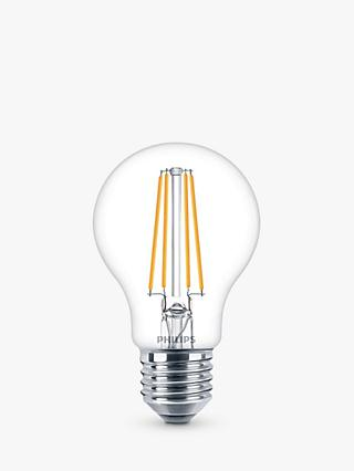 Philips 7W ES LED Classic Filament Bulb, Clear, Non Dimmable, Pack of 6