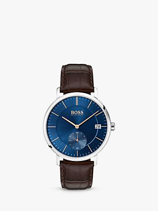 HUGO BOSS Men's Corporal Date Leather Strap Watch