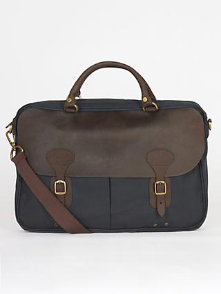 Barbour Waxed Cotton Briefcase, Navy