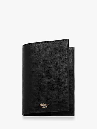 Mulberry Cross Grain Leather Passport Cover, Black
