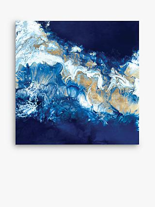 Dance Of The Coral Reef - Abstract Embellished Canvas Print, 100 x 100cm, Cobalt Blue/Gold