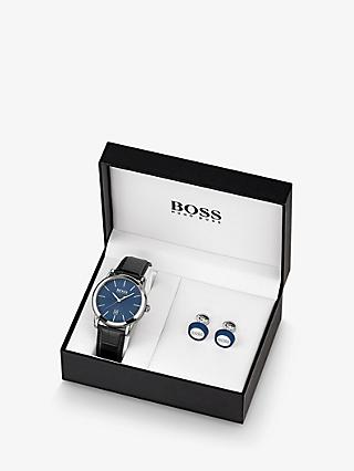 HUGO BOSS 1570092 Men's Round Cufflinks and Date Leather Strap Watch Gift Set, Black/Blue