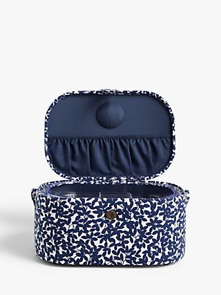 John Lewis & Partners Leaf Print Large Oval Sewing Basket, Navy