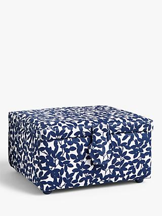 John Lewis & Partners Leaf Print Small Square Sewing Basket, Navy