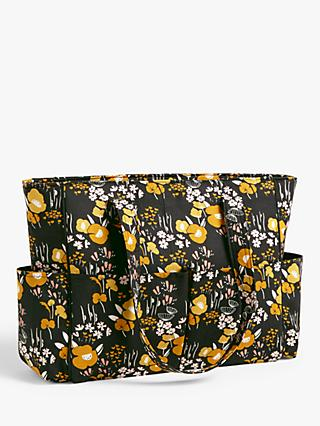 John Lewis & Partners Dove Floral Print Craft Bag, Dark Grey/Yellow