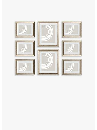 John Lewis & Partners Gallery Set Multi-aperture Photo Frames, 8 Photo, Champagne