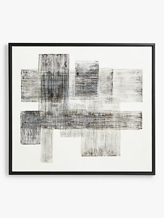Blackout - Hand-Painted Textured Monochrome Abstract Framed Canvas, 90 x 100cm, Black/White