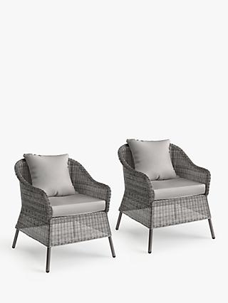 John Lewis & Partners Hoxton Garden Lounging Armchairs, Set of 2, Grey