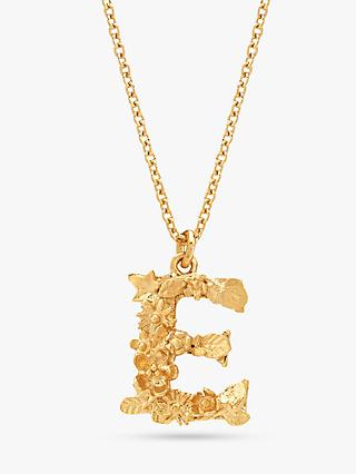 Alex Monroe 22ct Gold Plated Sterling Silver Floral Letter Pendant Necklace