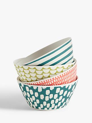 John Lewis & Partners Bamboo Patterned Bowls, 15cm, Set of 4, Assorted