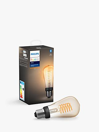 Philips Hue White Ambiance Wireless Lighting 7W ES LED Dimmable Filament Bulb, ST64 E27
