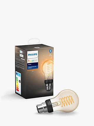 Philips Hue White Ambiance Wireless Lighting 7W BC LED Dimmable Classic Filament Bulb, A60 B22